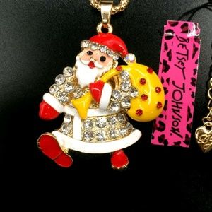 Betsey Johnson Santa Claus Christmas Gold Necklace